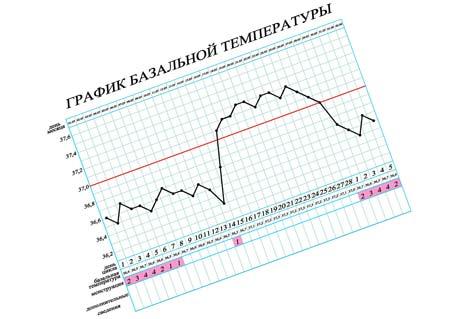 Нормальный график базальной температуры у женщин, пример